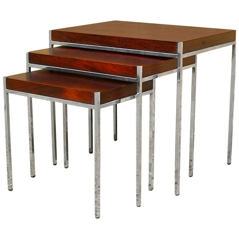 Rosewood and Chrome Nesting Tables