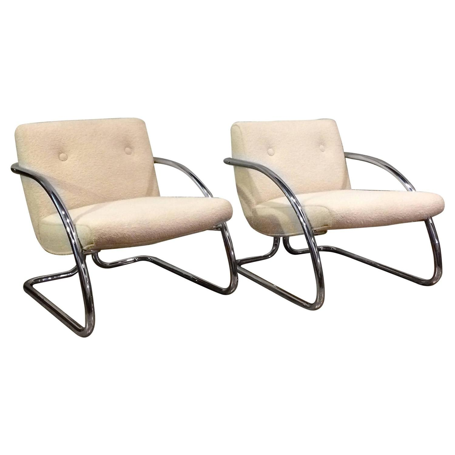 Tubular Chrome Upholstered Lounge Chairs For Sale at 1stdibs