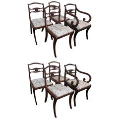 Set of Eight Regency Style Dining Room Chairs, circa 1890, England