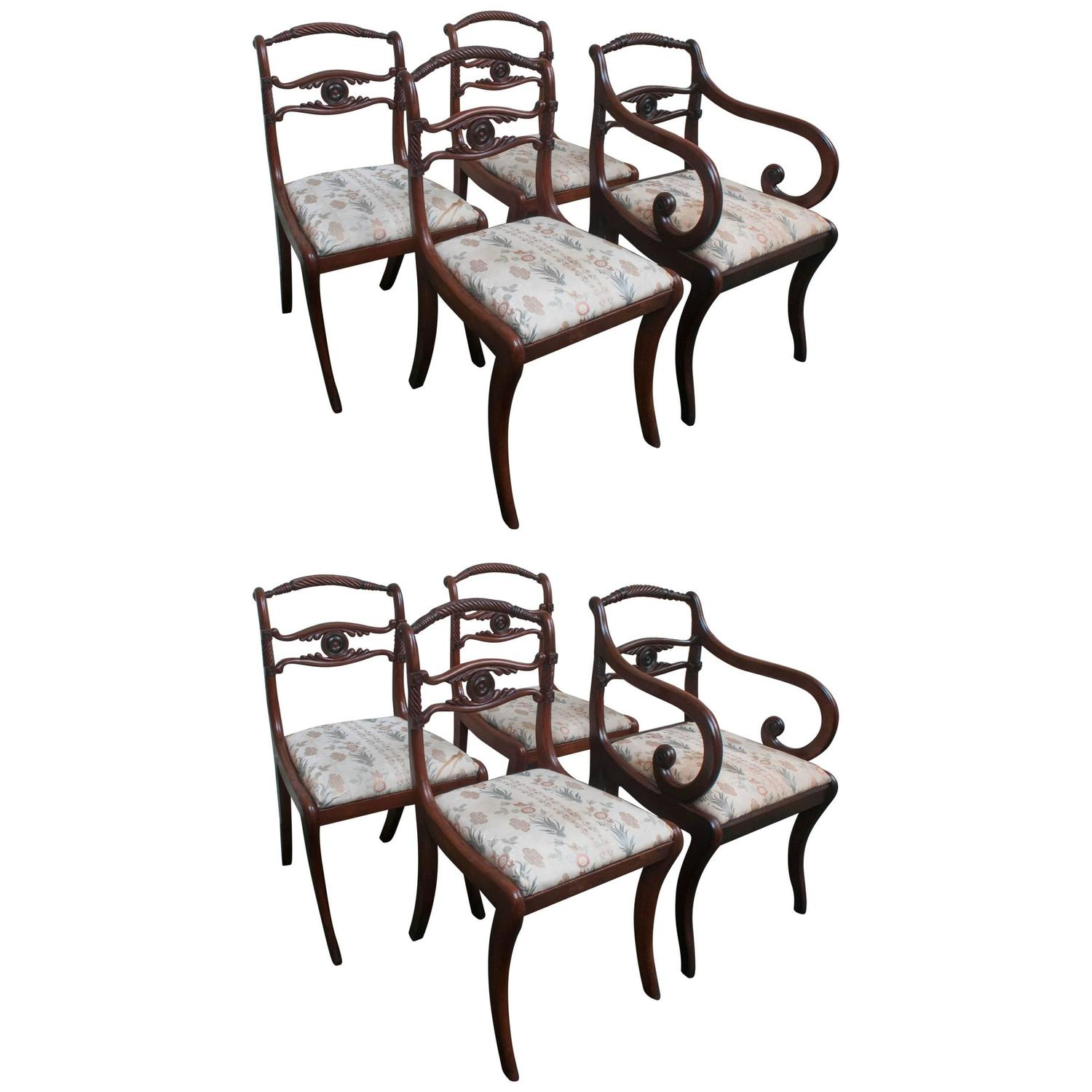 Set Of Eight Regency Style Dining Room Chairs Circa 1890 England At 1stdibs