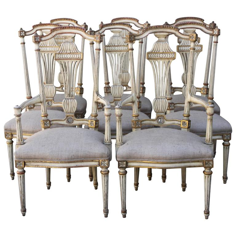 Italian Painted Neoclassical Style Dining Chairs at 1stdibs