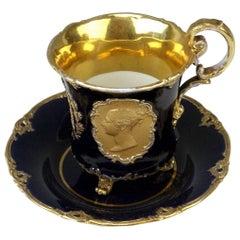 Meissen Cup Saucer Queen Victoria & Husband Albert Vintage, circa 1840-1850