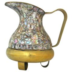 Mexican Brass and Abalone Inlay Pitcher Circa 1950