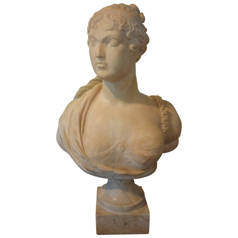 19th Century Italian Alabaster Bust On Plinth
