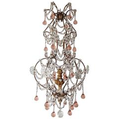 French Pink Drops Macaroni Bead Swags Chandelier