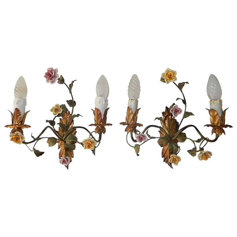 19th Century Italian Tole and Porcelain Roses Polychrome Sconces