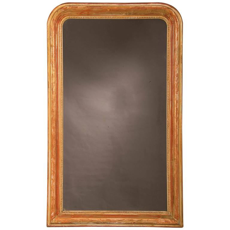 Louis Philippe Style Antique French Gold Leaf Mirror, circa 1880 For Sale