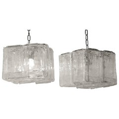 1970s Pair of Chandeliers or Lantern by Fratelli Crystal of Murano