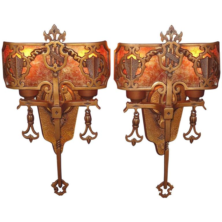 Gothic Wall Sconces: 1920s Tudor Gothic Sconces With New Mica Shade ADA At 1stdibs