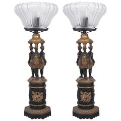 Pair of Gilt Bronze and Patinated Bronze Lamps with Three Graces