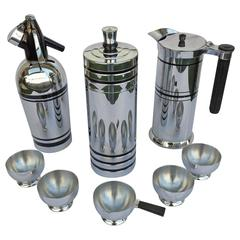 Chase Chrome Six-Piece Bar Set and Sparklets Seltzer Bottle and Pouring Jug
