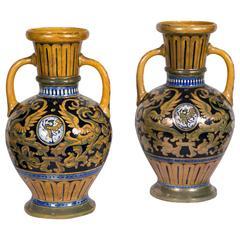 Pair Of Italian Lusterware Vases In Majolica Signed SDR Società Della Robbia