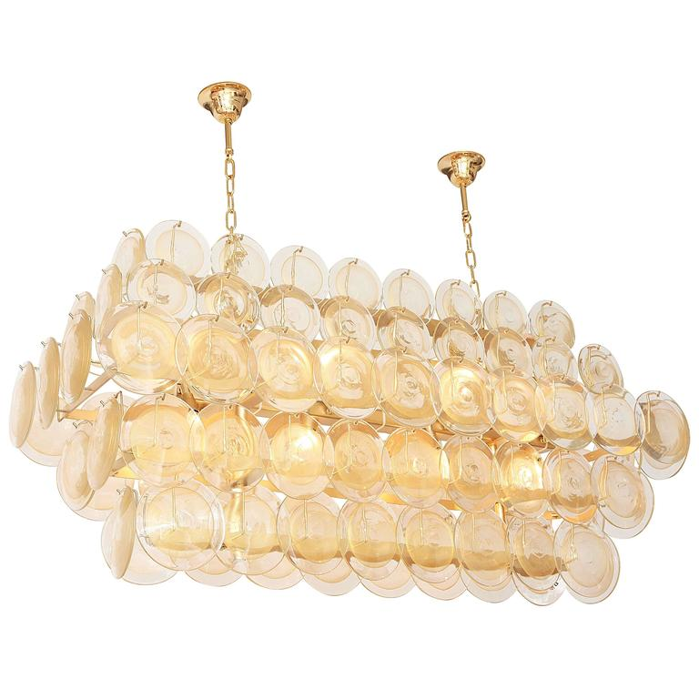 Mid Century Italian Gold Disc Murano Chandelier At 1stdibs