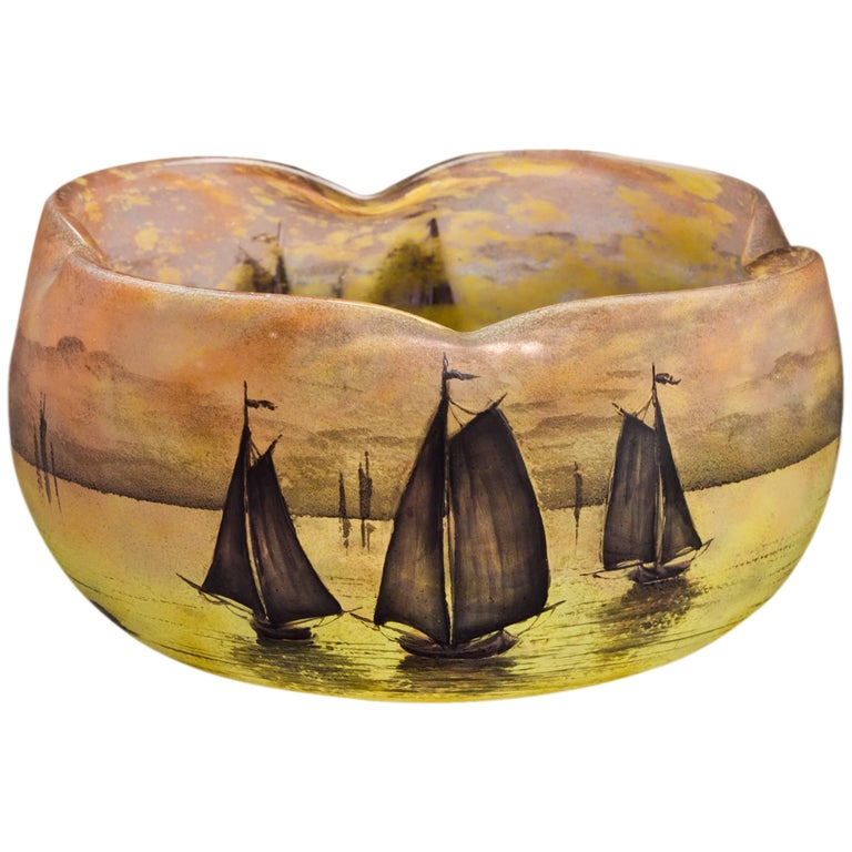 Daum Nancy Lobed Bowl, circa 1900 For Sale