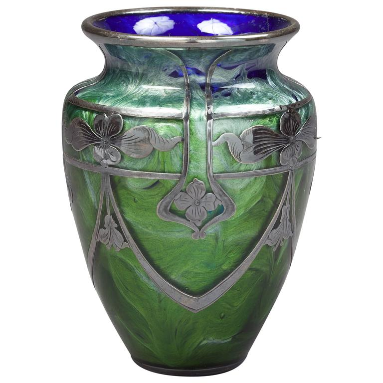 Loetz Glass Vase With Sterling Silver Overlay Circa 1900 For Sale