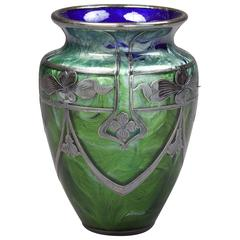 Loetz Glass Vase with Sterling Silver Overlay, circa 1900