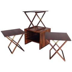 Nicely Styled Finely Crafted Nest of Rosewood Campaign Style Tables