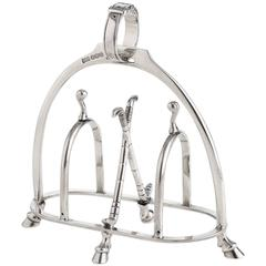 Equestrian Silver Toast or Letter Rack by Makers Walker & Hall, circa 1918