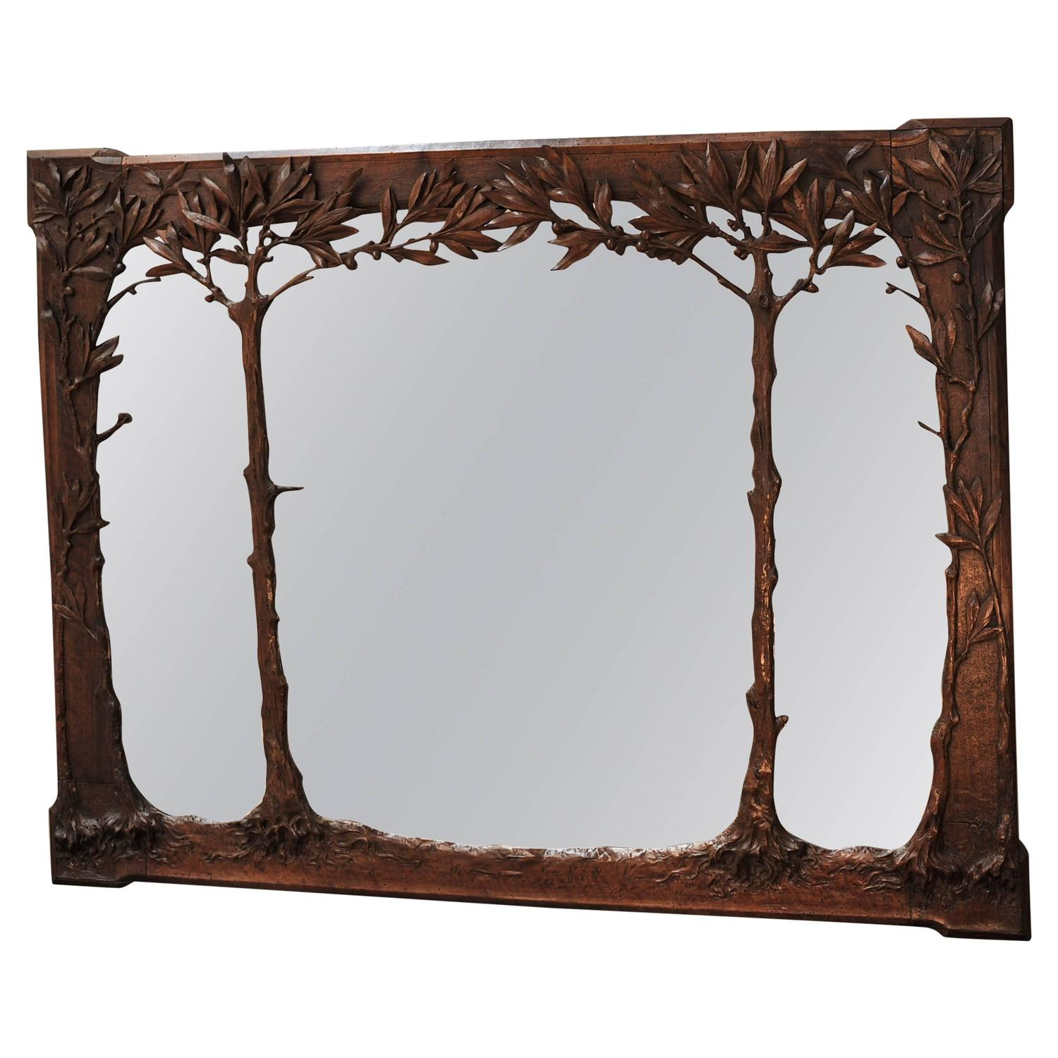 Art nouveau 1900 french walnut mirror at 1stdibs for Mirror mirror songsterr