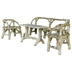 19th Century French Garden Faux Bois Bench, Chairs and Table
