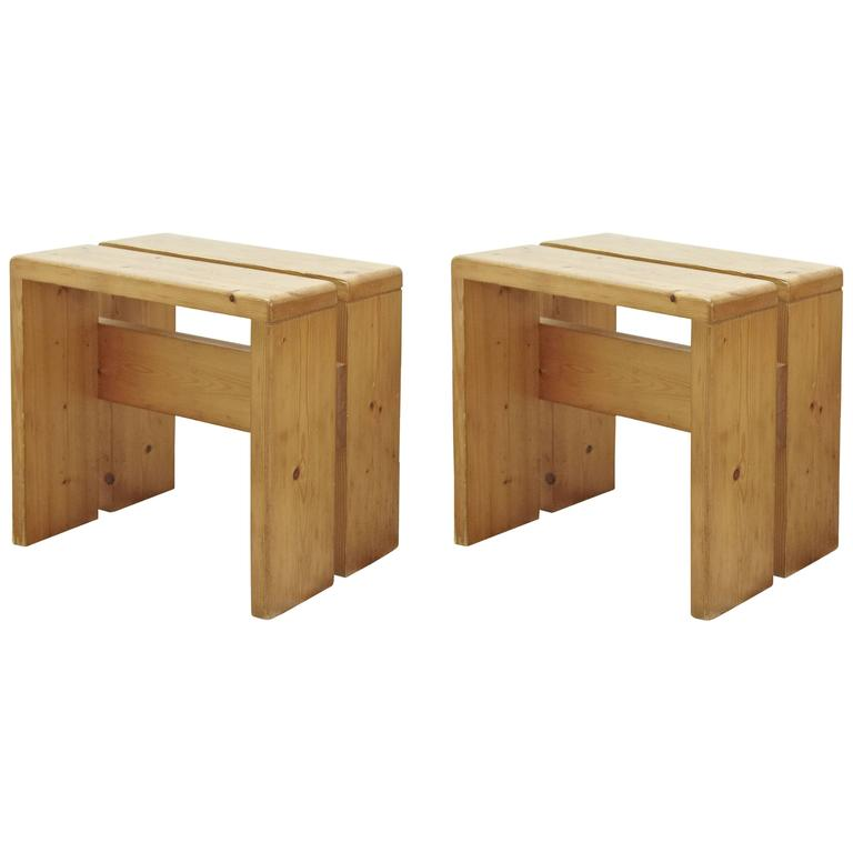 Pair of Charlotte Perriand Stool for Les Arcs For Sale