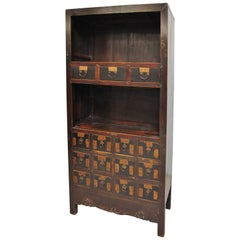 Antique Chinese 15-Drawer Apothecary with Shelves, Late 19th Century