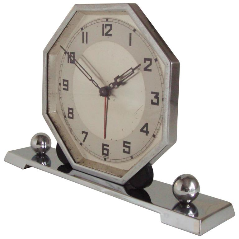 German art deco chrome and bakelite octagonal mechanical Art deco alarm clocks