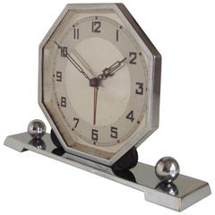 German Art Deco Chrome & Bakelite Octagonal Mechanical Alarm Clock.