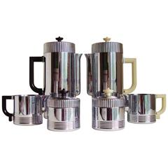 Pair of American Art Deco Chase Continental Coffee Sets by Walter Von Nessen.