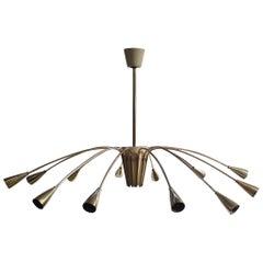 Brass Stilnovo twelve-lights chandelier
