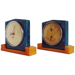 Rare American Art Deco Two-Tone Bakelite Desk Barometer and Hygrometer by Taylor