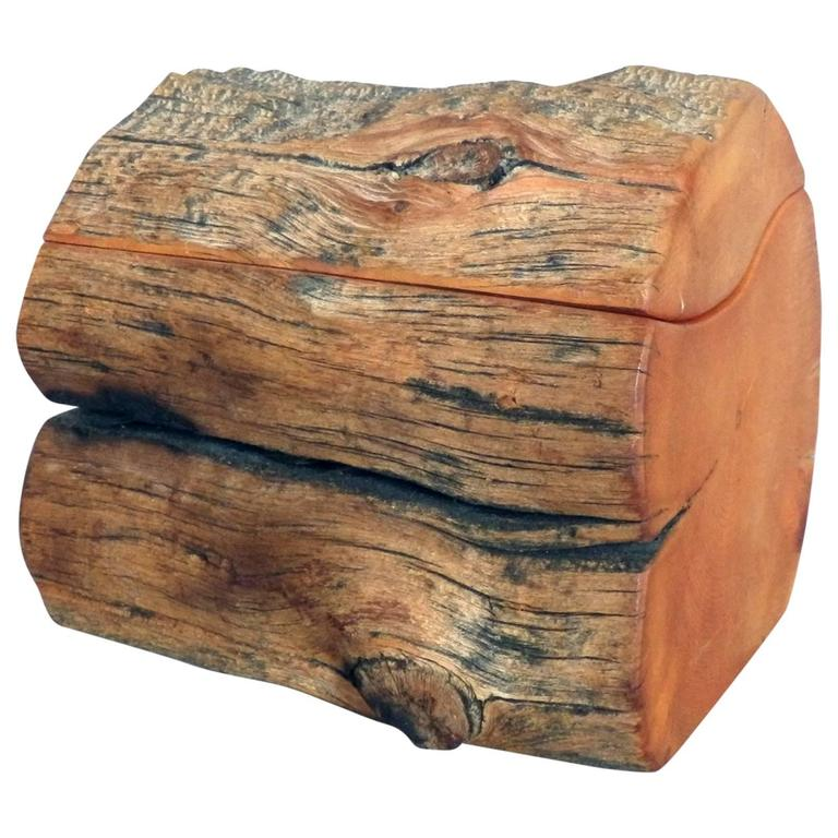 Charmant Rosewood Hand Carved Organic Log Form Dresser Box For Sale