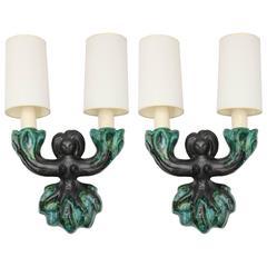 Pair of Art Moderne 1950s French Ceramic Sconces Robert Bonfils