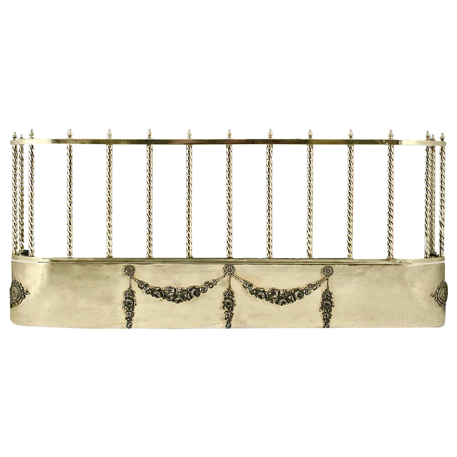 Gilt Brass And Bronze Antique Fireplace Fender Mounted With Mastiff