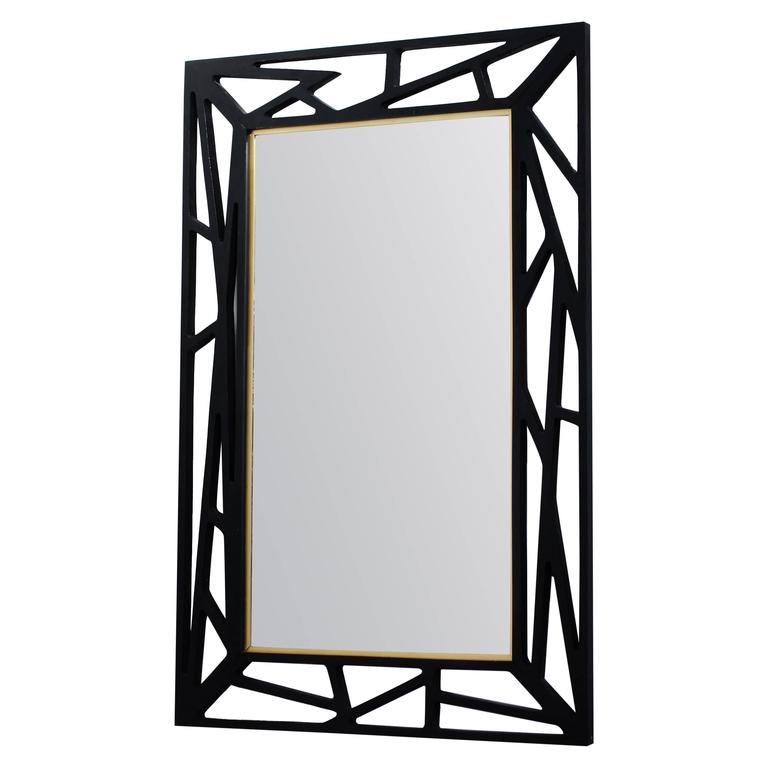 1940s Black Lacquer Mirror from Eden Spegel