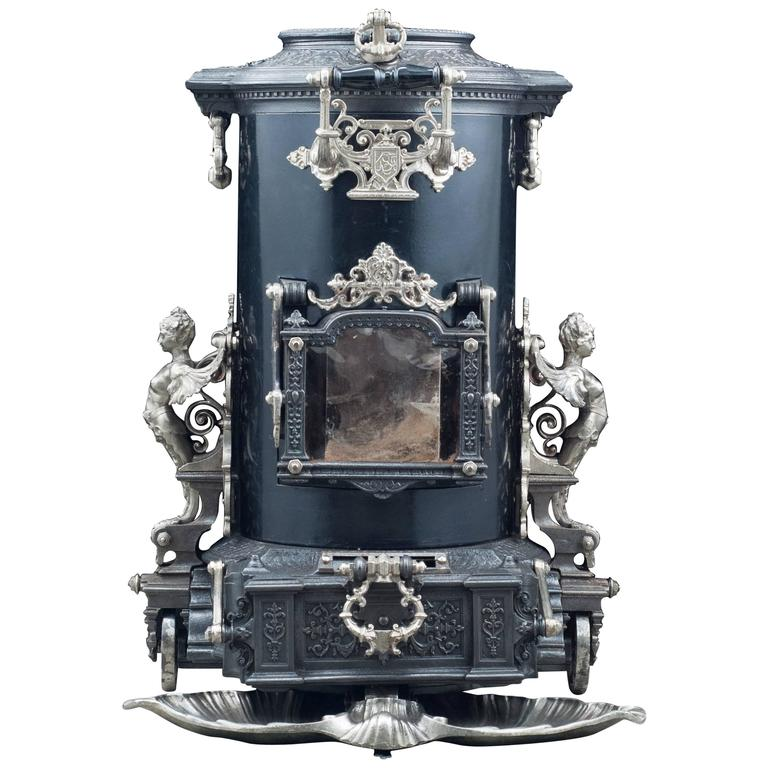 Highly Ornate Cast Iron Antique French Wood Burning Stove