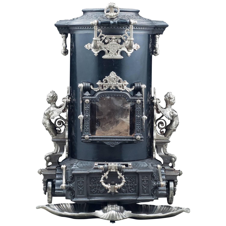Highly Ornate Cast Iron Antique French Wood Burning Stove