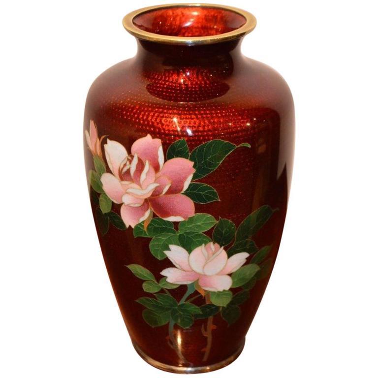 Large Red Ground Ginbari Cloisonn 233 Vase At 1stdibs