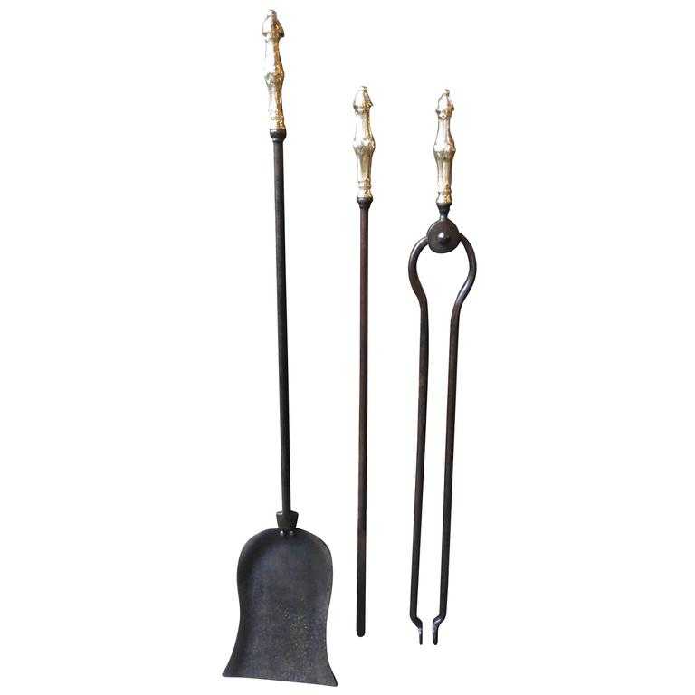 19th Century Wrought Iron and Brass Fireplace Tool Set, Fire Tools For Sale