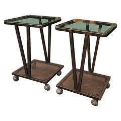 Pair of French Industrial Iron and Glass Sides Tables on Wheels