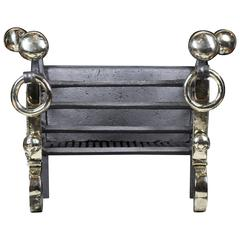 Antique Arts & Crafts Wrought Iron and Brass Fireplace Grate