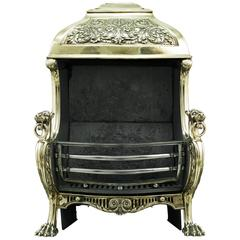 19th Century Renaissance Style Brass Hooded Antique Fireplace Grate