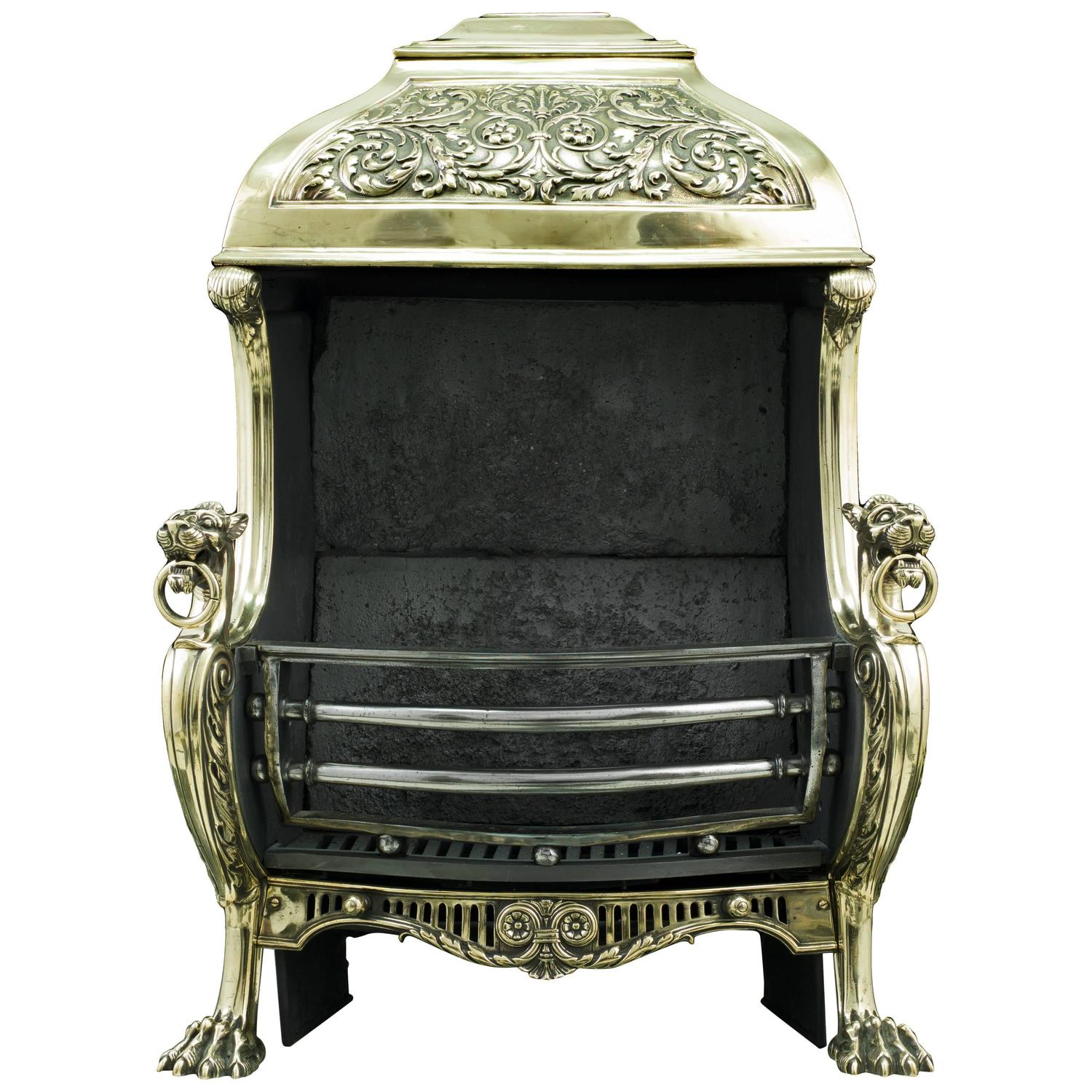 19th century renaissance style brass hooded antique fireplace