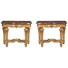 A Pair of Antique French Console Tables in the Régence Manner