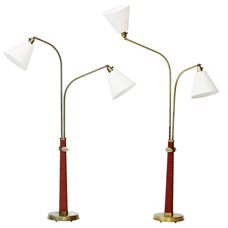 Pair of 1930s Floor Lamps by Hans Bergström for Ateljé Lyktan