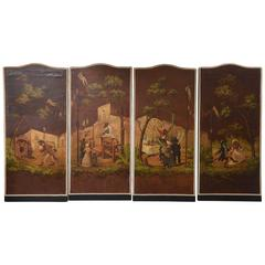 Set of  Painted Leather Panels with Whimsical Monkey Motif