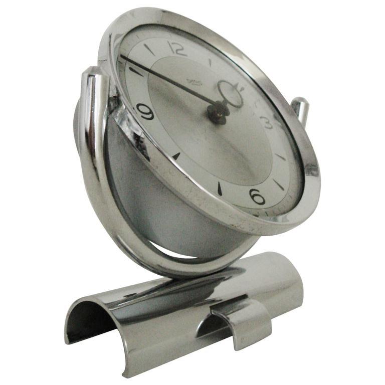 English Mid-Century Modern Chrome Mechanical 30-Hour Smiths Tilting Desk Clock   For Sale