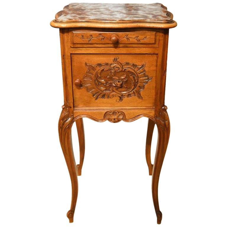 Walnut French Antique Bedside Cabinet 1 - Walnut French Antique Bedside Cabinet At 1stdibs