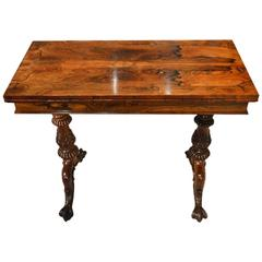 Rare Rosewood Victorian Period Fold Over Card Table by Gillows
