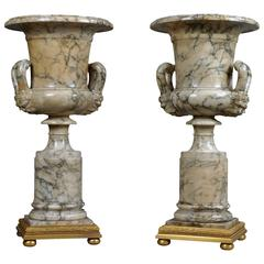Pair of Neoclassical Alabaster Vases, circa 1910